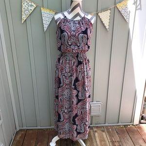 Enfocus Studio Paisley Print Blouson Maxi Dress